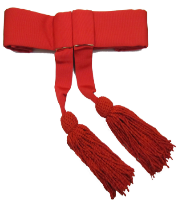 Officer's Sash Belt Ceremonial Belt in Red with Tassels & Fringe
